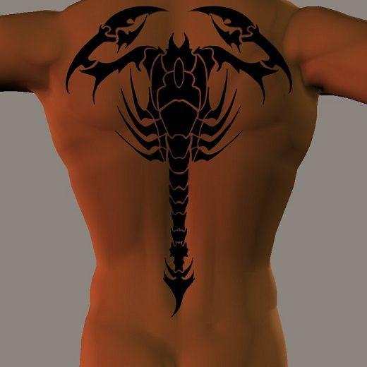 Tatouage homme scorpion dos complet
