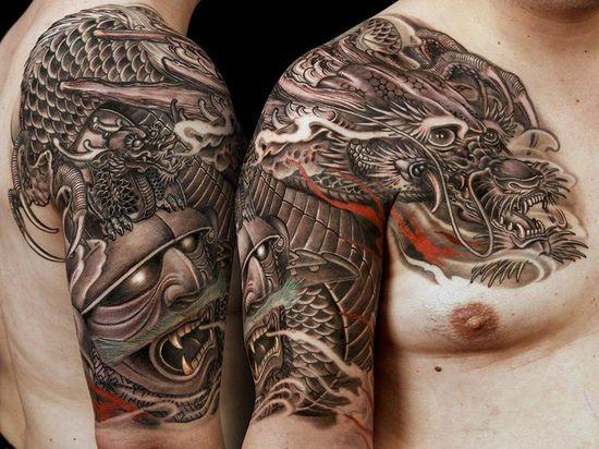 Tatouage chinois homme guerrier et dragon