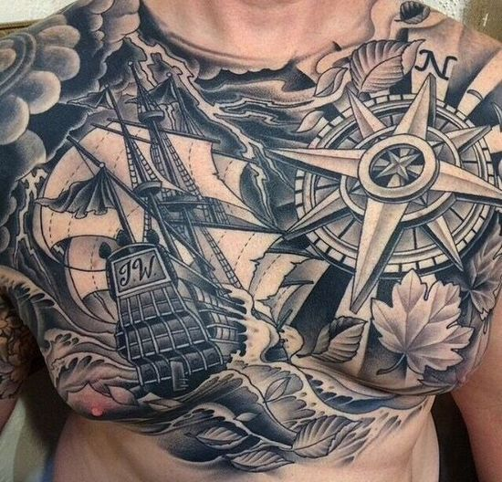 Tatouage homme toile 20 exemples tendance photos tatouage pour homme id es et motifs tattoos - Tatouage homme boussole ...