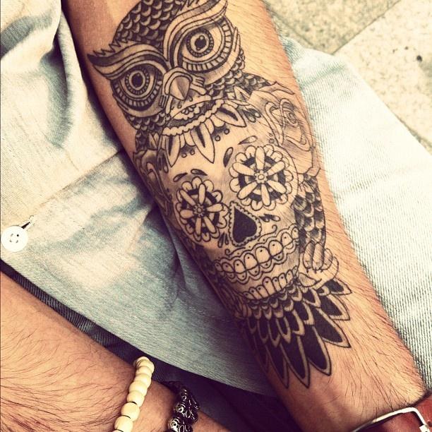 Tatouage Avant Bras Hibou Tete De Mort Idees De Tatouages Et Piercings