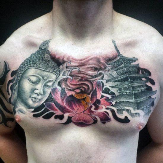 Tatouage chinois homme tete de bouddha lotus et pagode