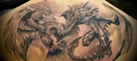 Tatouage homme dragon et phenix