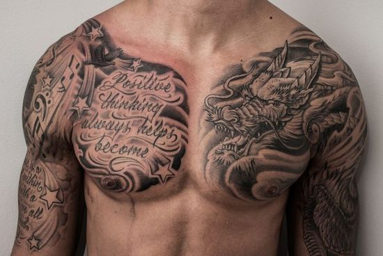 Tatouage homme dragon pectoral gauche